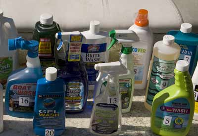 assorted boat cleaning products
