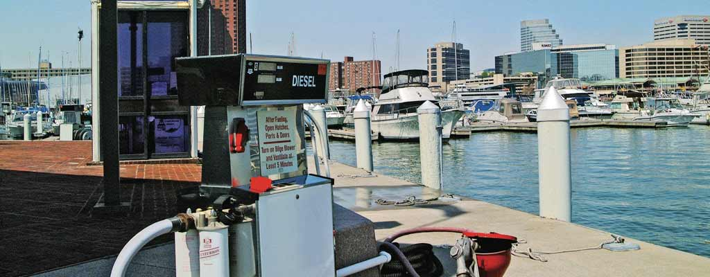 gasoline pump at a dock