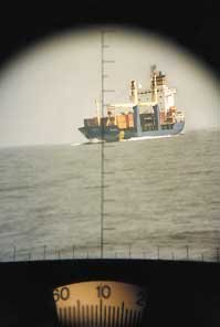 Use of binoculars or range finders will help you ascertain exactly where ship is headed.