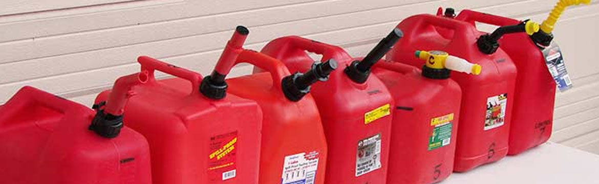 a series of red fuel jugs