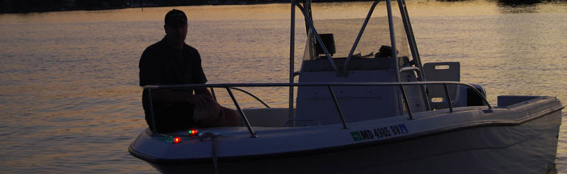 A boater with his navigtion lights activated
