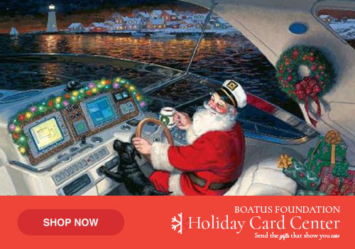 Image of captain santa claus on a holiday greeting card.