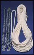 a nylon rope bundle and chains